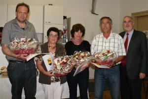 Thomas Englert, Gerlinde Raupp, Gerlinde Kuttler, Reinhold Stehli mit Oberbürgermeister Klaus Demal