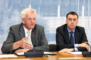 Ministerpräsident Winfried Kretschmann (l.) und Finanz- und Wirtschaftsminister Nils Schmid (r.)
