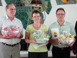 Otmar Durban, Elke Schubert, Joachim Wenz gemeinsam mit dem Oberbürgermeister