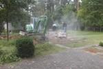 Arbeiten am gärtnergepflegten Grabfeld begonnen