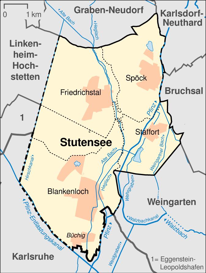 Karte Stadtteile Stutensee