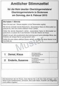 Stimmzettel OB-Wahl