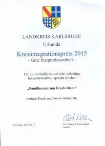 Urkunde Kreisintegrationspreis Familienzentrum Friedrichstal