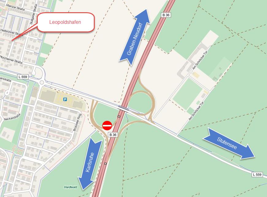 Um- und Ausbau des Knotens B36 bei Leopoldshafen