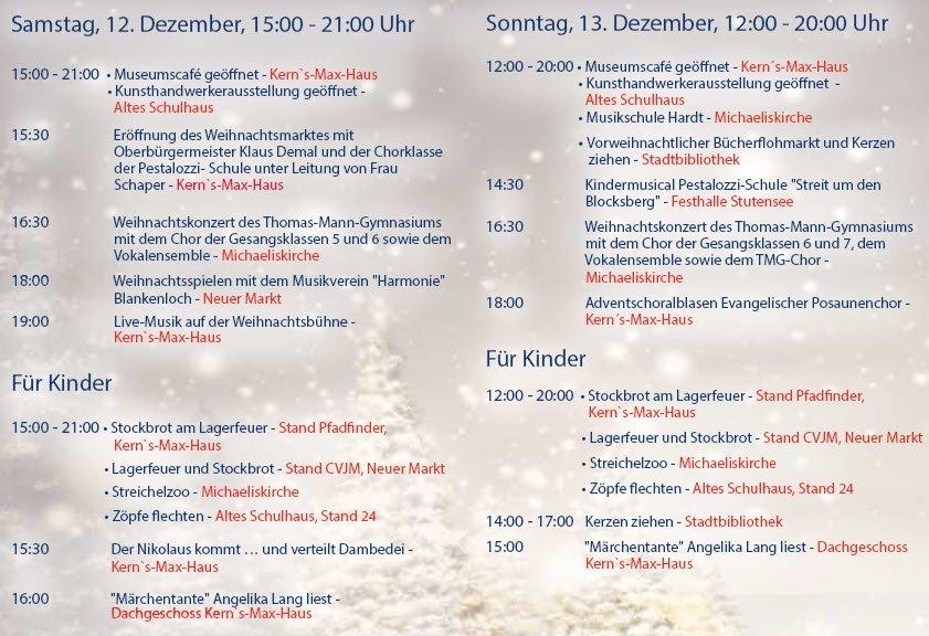 Programm Weihnachtsmarkt Blankenloch 2015