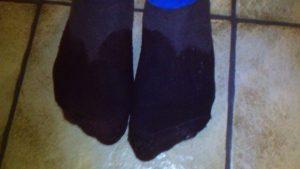 Nasse Füße hatte Marius B. nach getaner Arbeit.