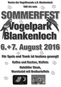 Plakat Sommerfest Vogelfreunde 2016