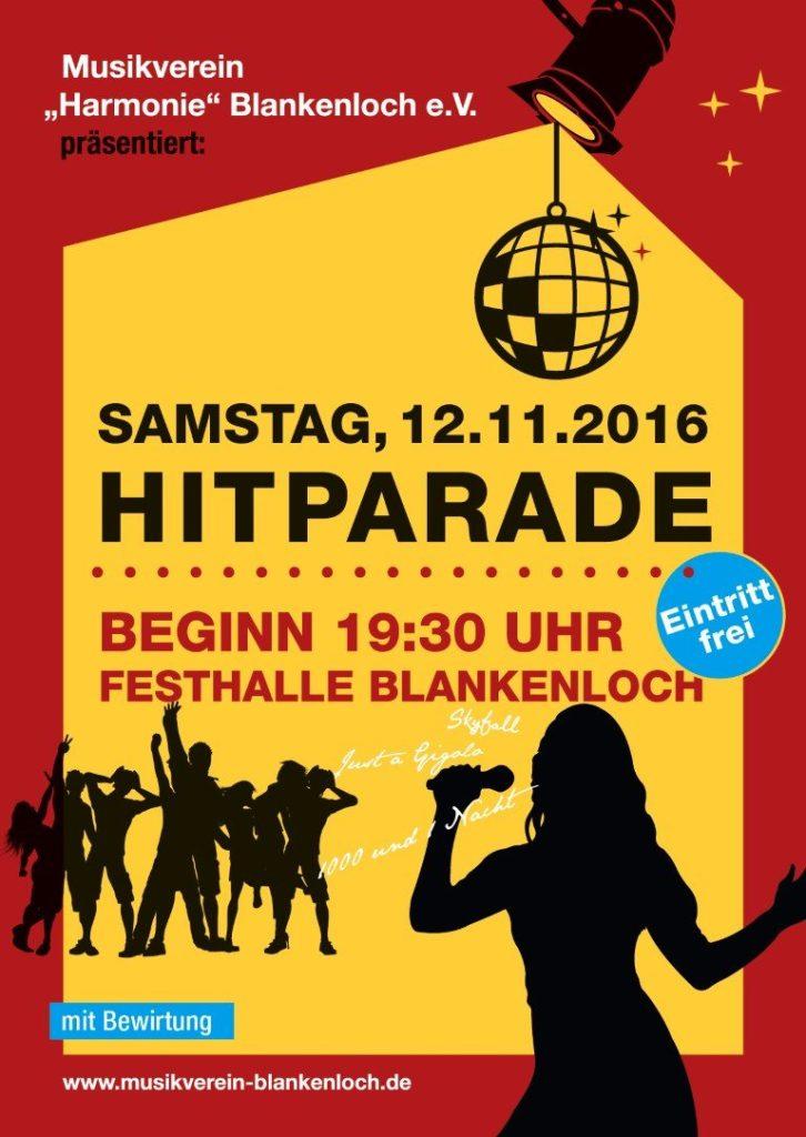 Flyer Hitparade Musikverein Blankenloch 2016