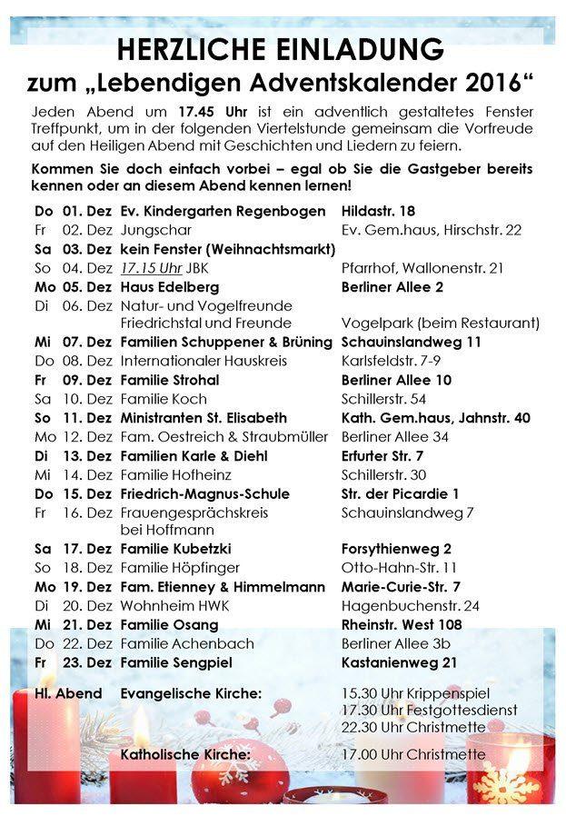 Lebendiger Adventskalender Friedrichstal 2016