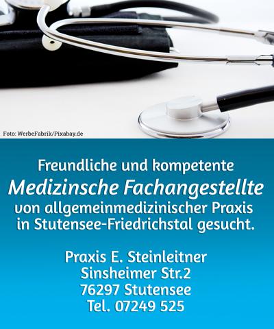 Freundliche und kompetente Medizinsche Fachangestellte von allgemeinmedizinischer Praxis  in Stutensee-Friedrichstal gesucht.  Praxis E. Steinleitner Sinsheimer Str.2 76297 Stutensee Tel. 07249 525.